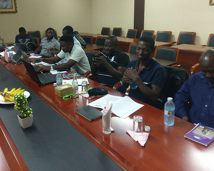 Oasis field engineers sitting in a class in a VSAT course