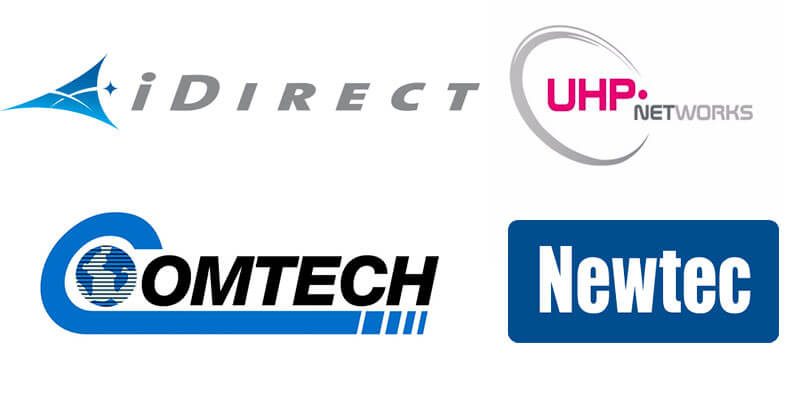 Logos of 4 of satellite communications providers: idirect, UHP, comtech and newstec